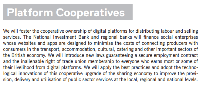 Platform Co-ops in Corbyn's Digital Democracy Manifesto
